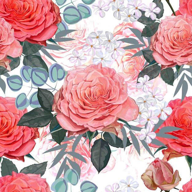 Rose weißes und gelbes nahtloses muster Premium Vektoren