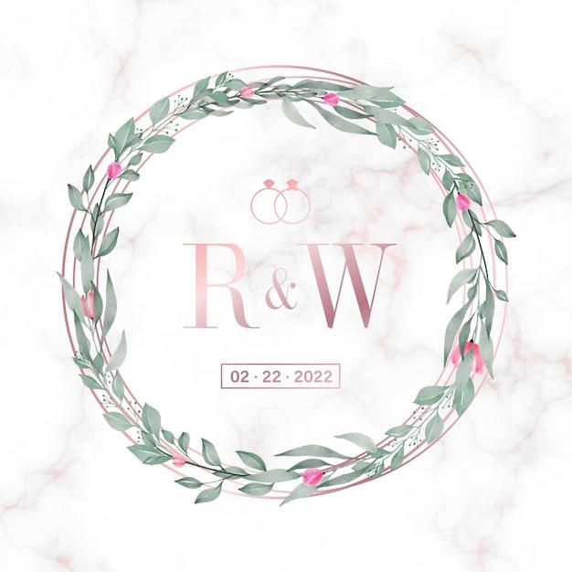 Roségold kreisrahmen mit blumen auf marmor für hochzeit monogramm logo und einladungskarte Kostenlosen Vektoren