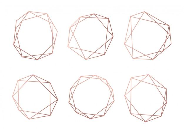 Roségold-sammlung von geometrischen polyedern Premium Vektoren
