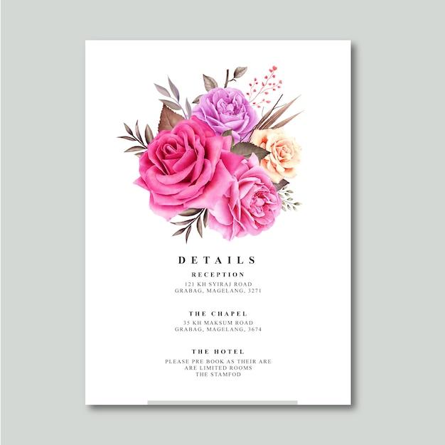 Rosen-blumenstrauß mit detailkarten-schablonenaquarell Premium Vektoren