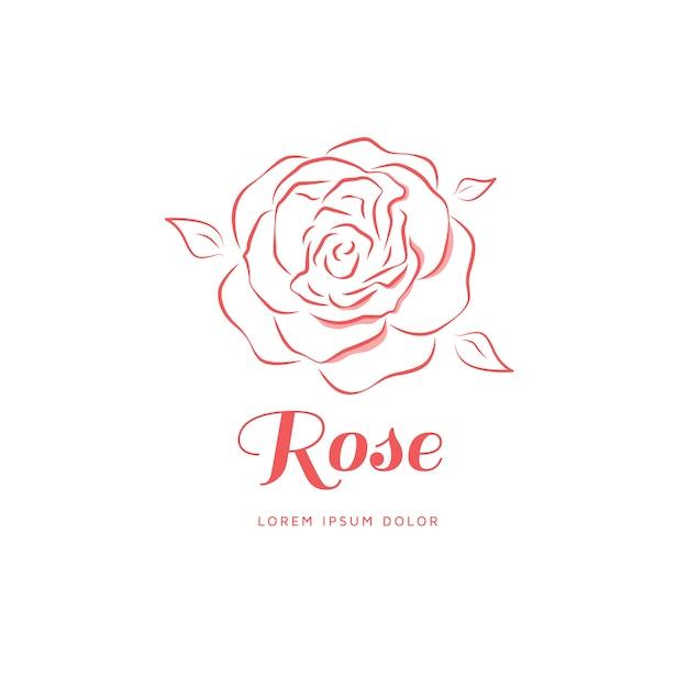 Rosen-emblem in einem linearen stil. Premium Vektoren