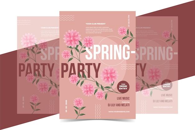 Rosen party poster frühlingssaison konzept Kostenlosen Vektoren