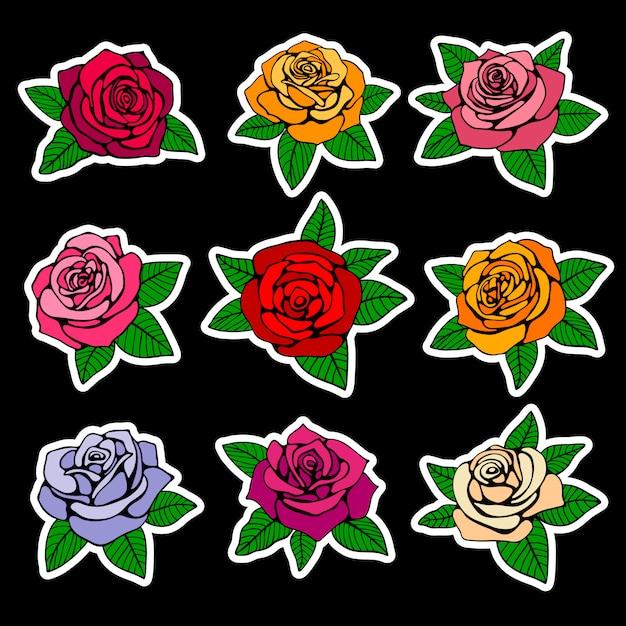Rosen-patches und aufkleber im stil der 90er jahre Premium Vektoren