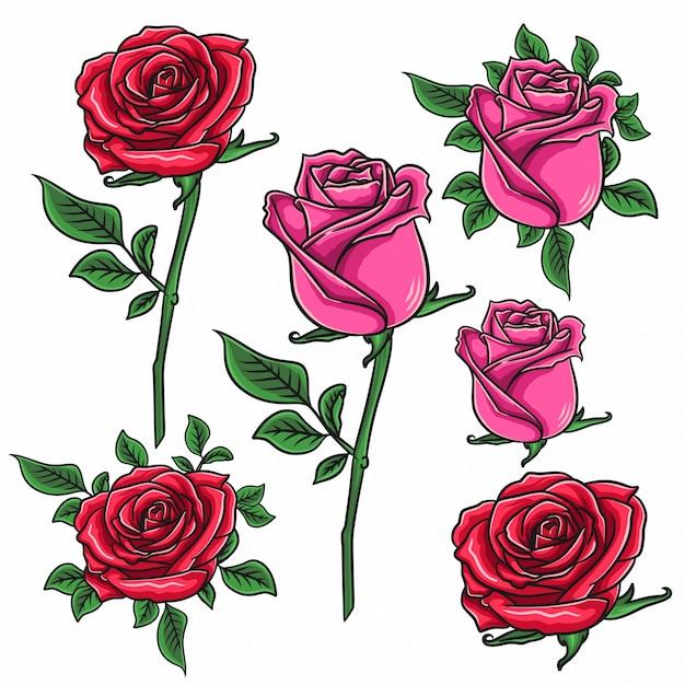 Rosenblumenset. blumendekoration Premium Vektoren
