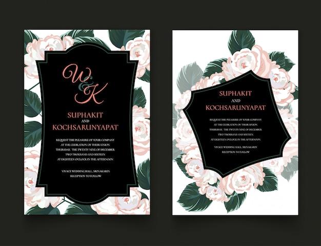 Rosenrahmen für einladungskarten und grafiken. Premium Vektoren