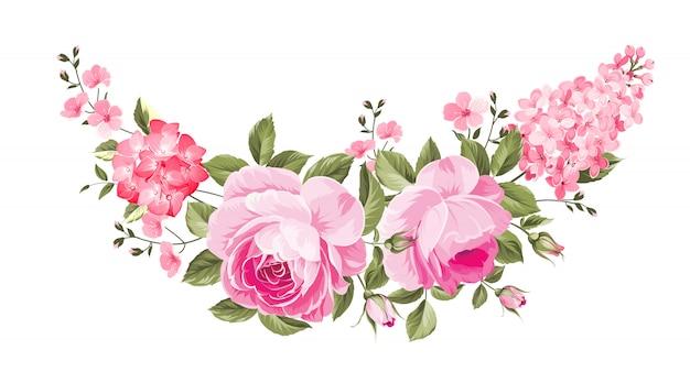Rosenstrauß für botanische karte. Premium Vektoren