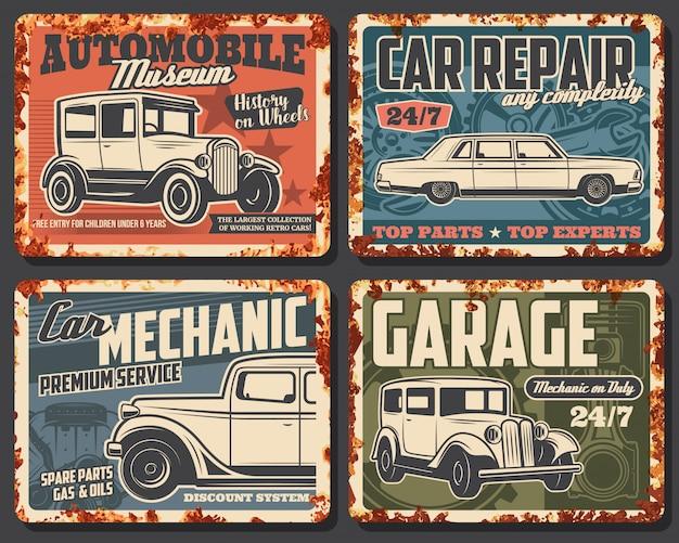 Rostige metallplatte alter autos und fahrzeuge Premium Vektoren