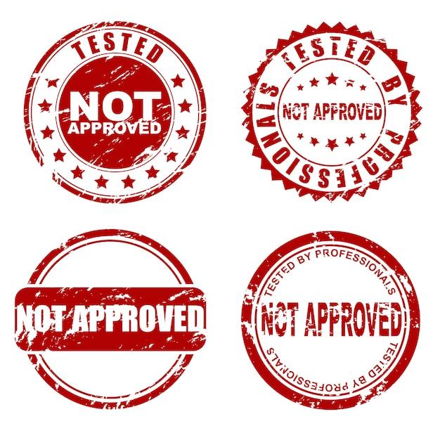 Rot nicht zugelassener stempelsatz Premium Vektoren