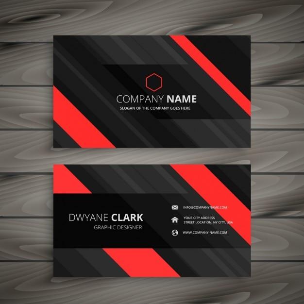 Rot Schwarz Visitenkarte Streifen Design Kostenlose Vektor
