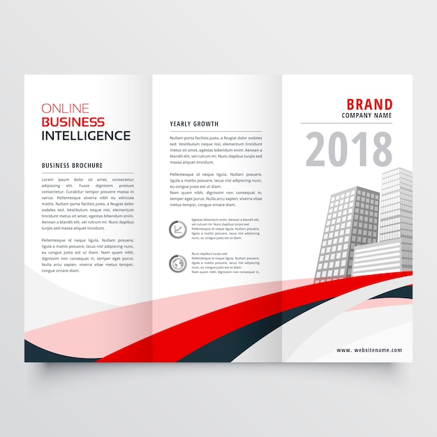 Rot schwarz Welle Geschäft trifold Faltblatt Broschüre Flyer Vorlage ...