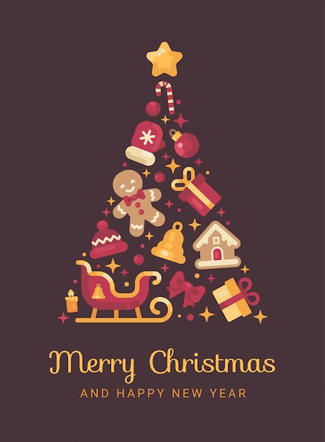 Rot und gold weihnachtsbaum aus weihnachten gemacht Premium Vektoren
