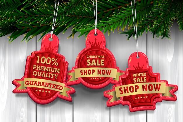 Rot und goldluxusaufkleber Premium Vektoren