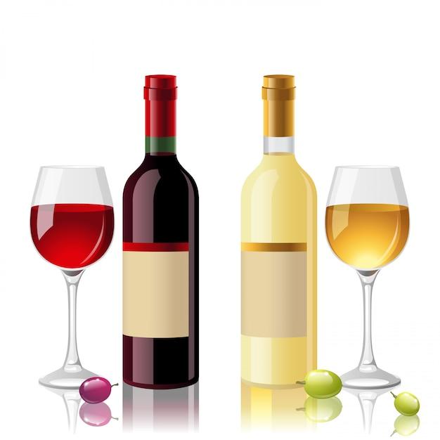 Rot- und weißwein Premium Vektoren
