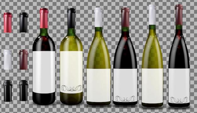Rot- und weißweinflaschen. realistisch Premium Vektoren