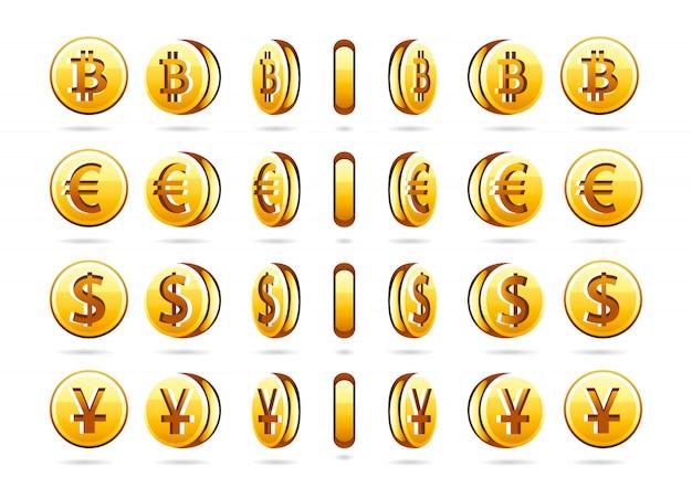 Rotationsmünzen Premium Vektoren