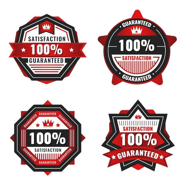 Rote 100% garantie etikettenkollektion Premium Vektoren