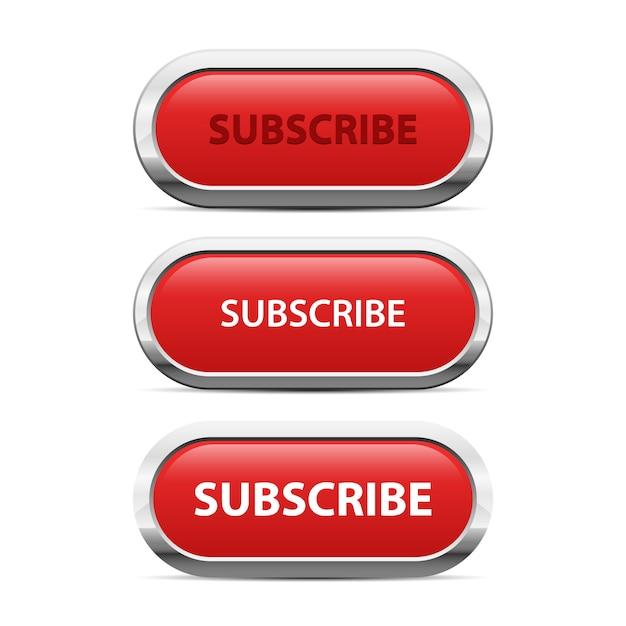 Rote abonnementknopfillustration auf weißem hintergrund Premium Vektoren