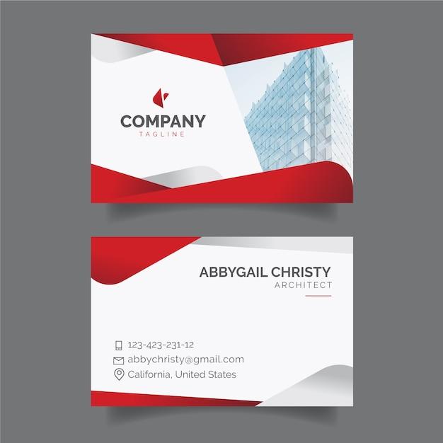Rote abstrakte visitenkarteschablone mit foto Kostenlosen Vektoren