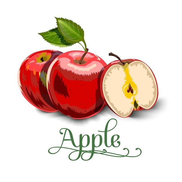 Rote äpfel mit grünen blättern und apple slice Premium Vektoren