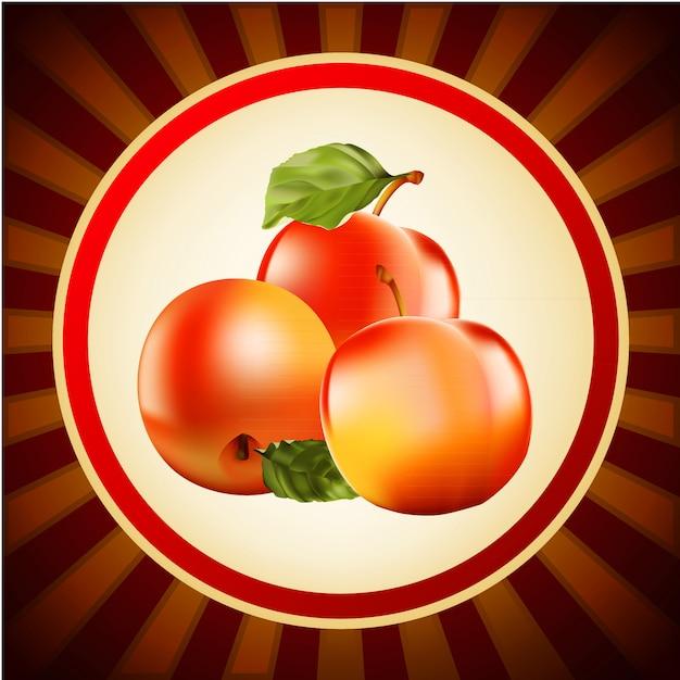 Rote äpfel obst layout-design-vorlage Premium Vektoren
