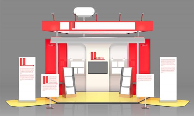 Rote ausstellungsvitrine design Kostenlosen Vektoren