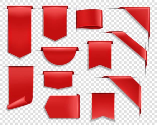 Rote bänder, etiketten und banner gesetzt Premium Vektoren