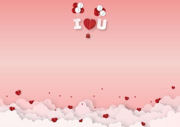 Rote ballone mit textfloss im himmel Premium Vektoren