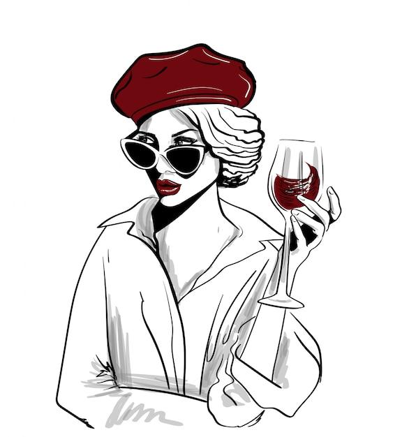 Rote barettfrau mit glas wein Premium Vektoren