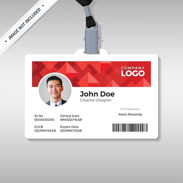 Rote diamant-id-kartenvorlage Premium Vektoren
