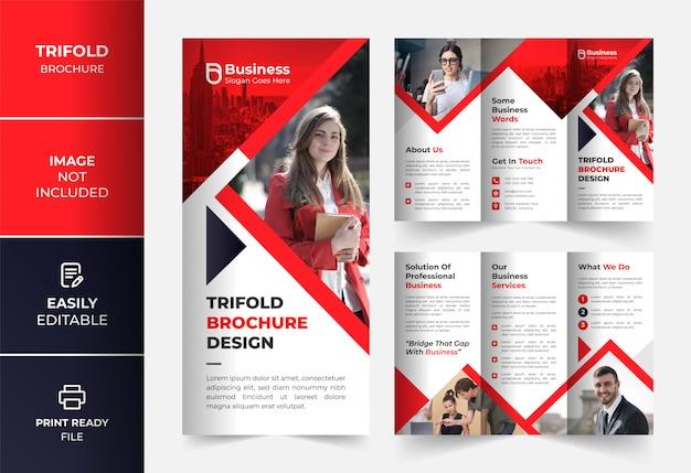 Rote dreifache broschüre des unternehmensgeschäfts designvorlage Premium Vektoren