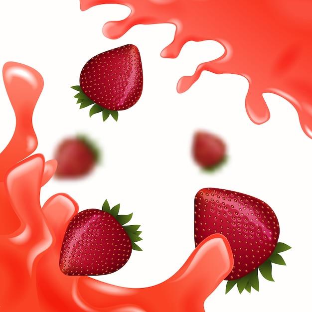 Rote erdbeere mit rotem saft auf weiß Premium Vektoren