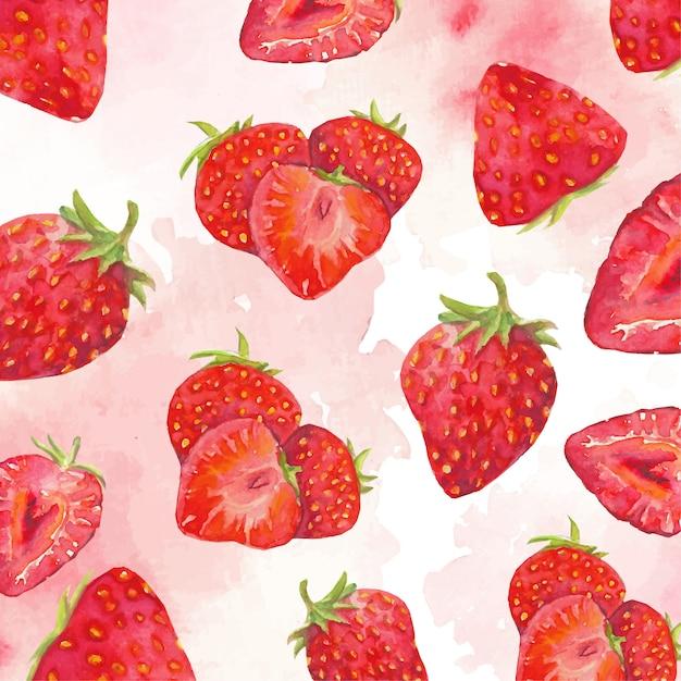 Rote erdbeeren hintergrund Premium Vektoren