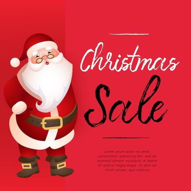 Rote fahnendesign des weihnachtsverkaufs mit santa claus und beispieltext Kostenlosen Vektoren