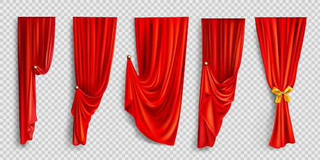 Rote fenstervorhänge auf transparentem hintergrund Kostenlosen Vektoren