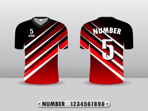 Rote fußballverein-t-shirt sportdesignschablone. Premium Vektoren