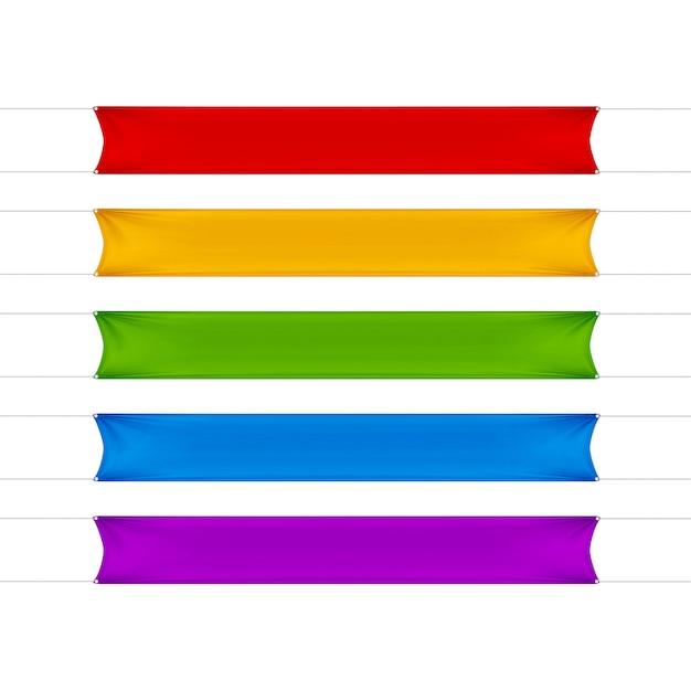 Rote, gelbe, grüne, blaue und lila leere leere horizontale rechteckige banner gesetzt Premium Vektoren