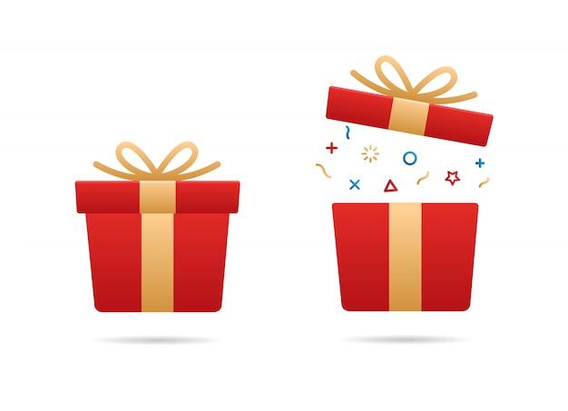 Rote geschenkbox eingestellt Premium Vektoren
