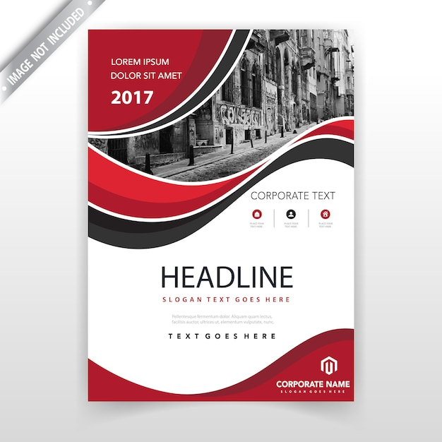 rote gewellte Broschüre Abdeckungsentwurfsschablone Kostenlose Vektoren