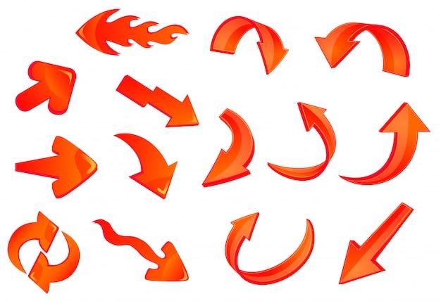 Rote glänzende pfeilsymbole eingestellt Premium Vektoren