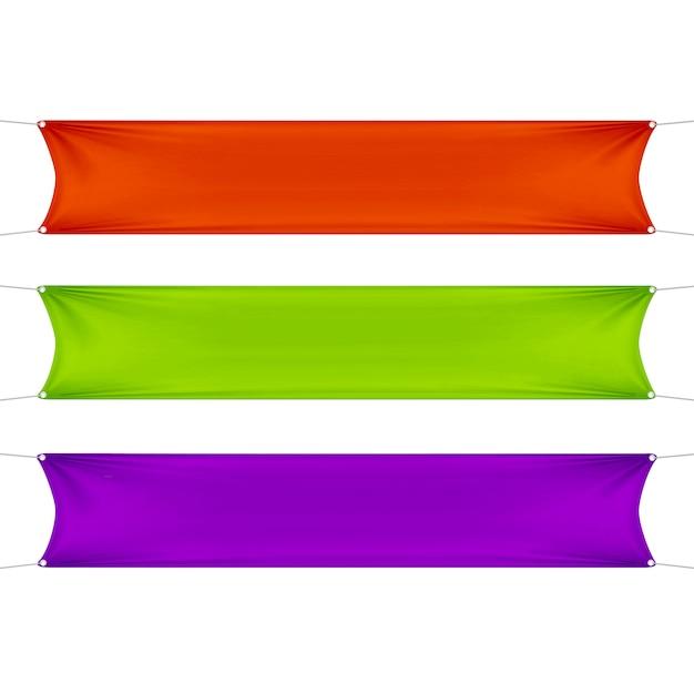 Rote, grüne und lila leere leere horizontale rechteckige banner mit eckenseilen. Premium Vektoren