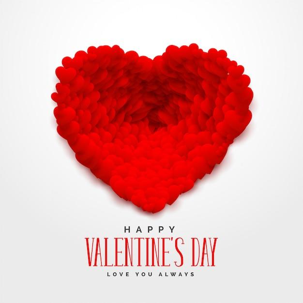 Rote herzen 3d für glücklichen valentinsgrußtag Kostenlosen Vektoren