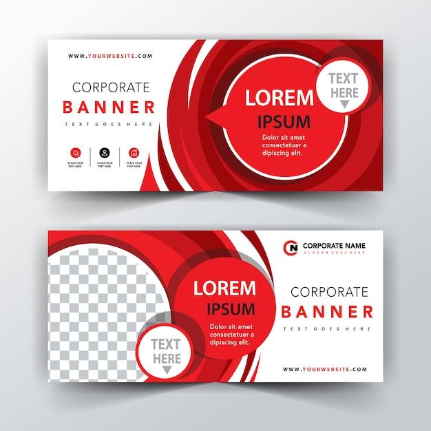 rote Illustration abstrakte Banner Kostenlose Vektoren