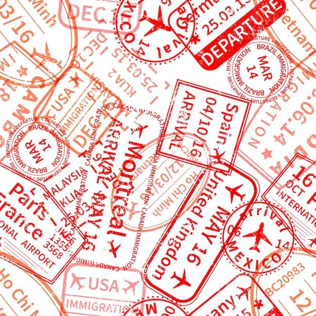 Rote internationale reisevisum-stempelabdrücke auf weißem, nahtlosem muster Premium Vektoren