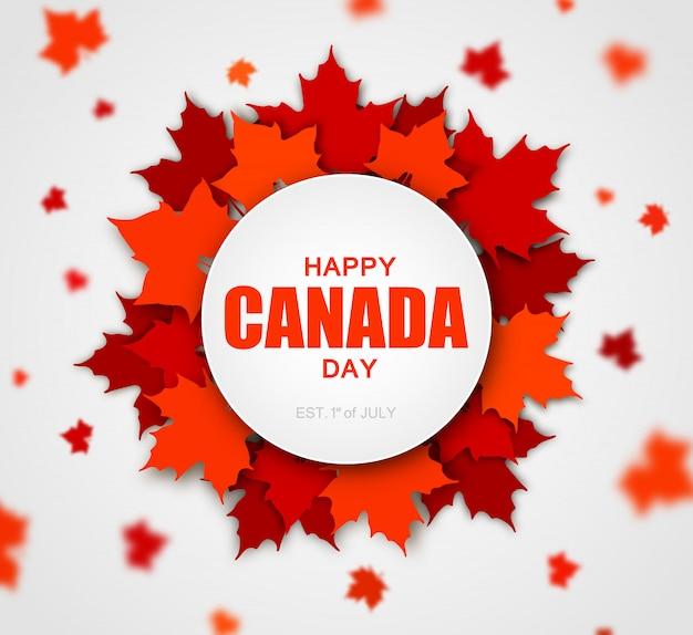 Rote kanadische ahornblätter mit dem beschriften von glücklichem kanada-tag Premium Vektoren