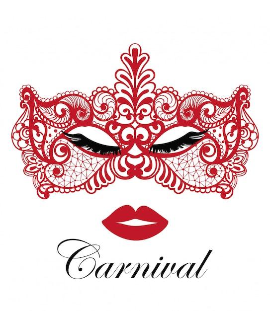 Rote karnevalsmaske Premium Vektoren