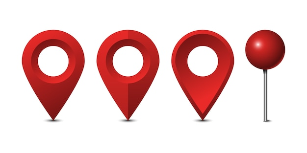 Rote kartenstifte gesetzt lokalisiert auf weißem hintergrund Premium Vektoren