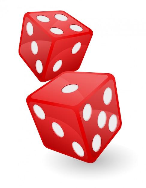 Rote kasinowürfel-vektorillustration Premium Vektoren