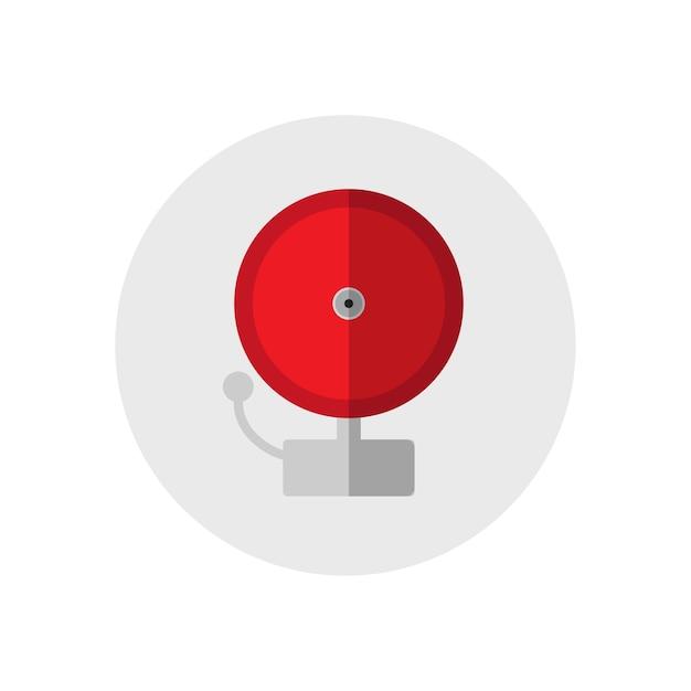 Rote klingel alarmglocke. einzelne schattenbildfeuer-ausrüstungsikone. flache art. Premium Vektoren