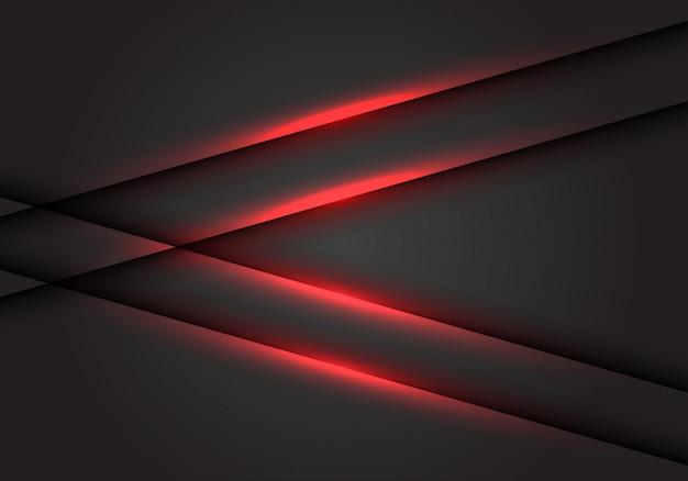 Rote lichtlinie pfeil auf dunkelgrauem leerzeichenhintergrund. Premium Vektoren