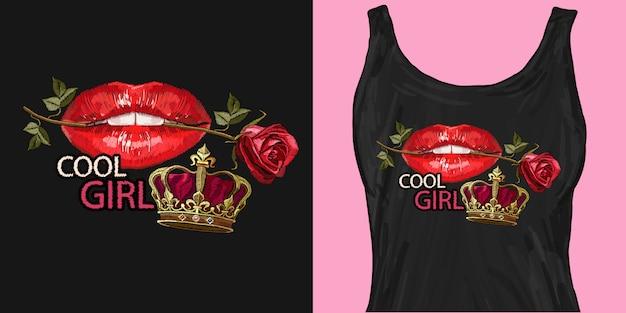 Rote lippen, goldene krone und rosen Premium Vektoren